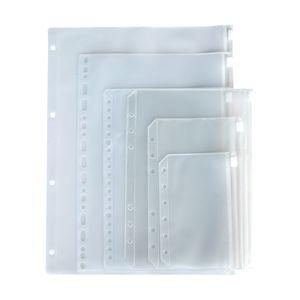 A5 A6 A7 Poches de liant perforées claires pour ordinateur portable 6 trous Zipper Feuille de feuilles en vrac Sac à insertion PVC givrée Poches de stockage enveloppe Dossiers de stockage