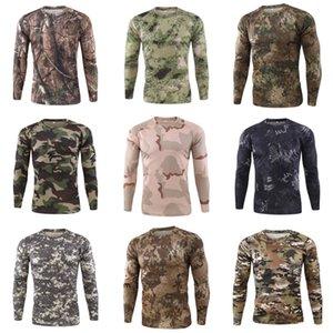 Erkek tişörtleri O Yaka Uzun Kollu Kasetli Kamuflaj Desen Fermuar Tasarım Pamuk Slim Fit For Man Erkekler Spor Tişörtü # 187