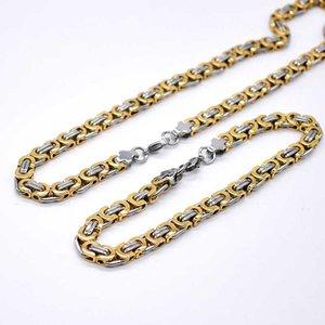 AMUMIU مجوهرات 40-90cm تعيين اثنين من لهجة لون الذهب عصري 6MM البيزنطية ربط سلسلة قلادة وسوار مجموعة HTZ091