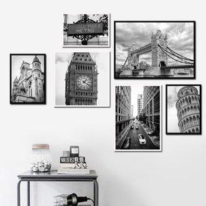Siyah Beyaz London Bridge Big Ben Sokak Wall Art Kanvas Nordic Posterler Ve Baskılar Duvar Resimleri İçin Salon Dekoru Boyama