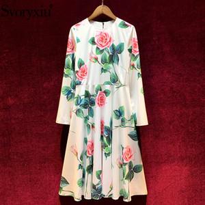 Svoryxiu 2020 Spring Summer Runway Custom Rose Flower Print Dress Women's Long Sleeve O-Neck Elegant Party Midi Dresses Vestdios