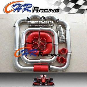 """3"""" Tubo POLLICE 76MM di alluminio universale Intercooler Turbo Piping + rosso + kit di serraggio 17Fj #"""