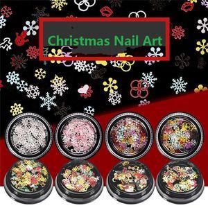 1 Kutu Tırnak Sequins Kar Tanesi Noel Dekorasyon Parlak Glitter Nail Art Manikür için Karışık Renkler 3D Etiketler Tasarımları