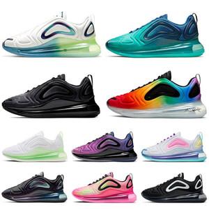Nike Air Max 720 del lobo gris de los hombres de los zapatos corrientes Sea Forest Volt Negro Gris frío Neón Rayas multi-color metálico manera de las mujeres Desinger la zapatilla
