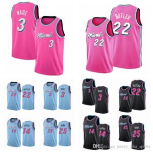 homens JuventudeMiamiCalor Dwyane Wade 22 Butler 14 Herro 25 Blue Pink Nunn Preto 2019/20CidadeEdiçãoNBA Jogador Jersey 04