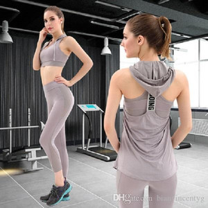 Designer Womens Yoga Suit three Piece set Hooded backless t shirt bra pants Sportwear Tracksuits Fitness Sports style Clothes woman outdoor