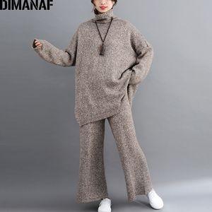 DIMANAF Plus Size femmes Ensembles Knitting Vintage Costume d'hiver Big Size Lady Hauts Pantalons Pull à col roulé en vrac long vêtement Femme