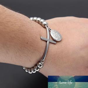 Hip hop Stainless Steel Gold Bead Bracelet With Jesus Cross Pendant Pulseras Rosary Bracelets Fashion Jewelry
