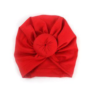 Red Newborn Baby Soft Cotton Hat Fashion Toddler Candy Headband Knotted Hat Baby Children Cute Headgear Headband