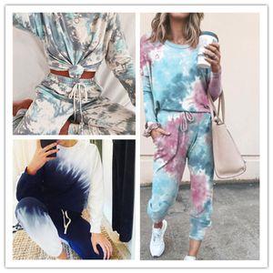 Para mujer del tinte del lazo 2pcs sistemas Mujer Primavera Verano O-cuello de manga larga con los juegos de pantalones de las mujeres Inicio Set