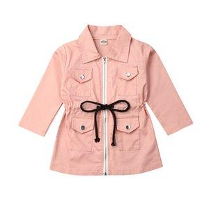 1-7Y Imcute 2020 otoño invierno de la niña de ropa con cordones foso de la solapa de la chaqueta informal cazadora rosa con cremallera Outwear la ropa