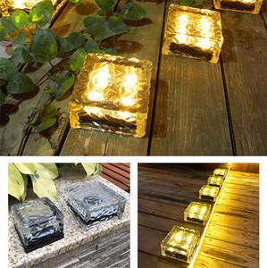 Verre solaire Brique Lumière, Glaçon lumières, LED lumière paysage Buried Lumière carrée Cube, verre givré Lumière pour Noël extérieur Chemin Route