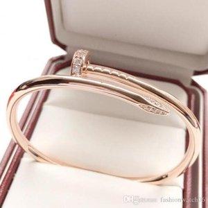 desigenr pulseiras 18k Bangles unhas Rose ouro com diamante Pseudo ouro nunca desaparecer Punk Bangle Jewelry