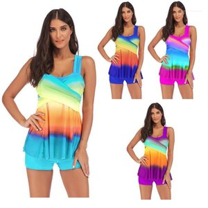 Summer Designer Bikini Swimwear Plus Size Sexy Women Skirted Bathing Suit Rainbow Printed Contrast Color Swimsuits