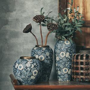 Jingdezhen Vintage Dekor Seramik Pot Mavi Ve Beyaz Porselen Vazo Geleneksel Çin Golden Flower Vazolar Hediye