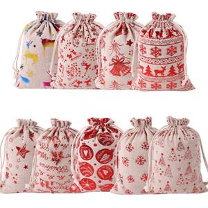 순록과 캔버스 산타 자루 크리스마스 작은 캔버스 Monogrammable 산타 클로스 졸라 매는 끈 부대를 졸라 매는 끈 크리스마스 선물