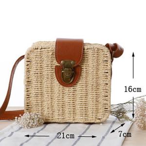 Mode Frauen Handtaschen Minifrauen- Kuriertaschen Leder Platz Straw Damen Umhängetasche Tasche Schultertasche Sommer Bolsa Feminina
