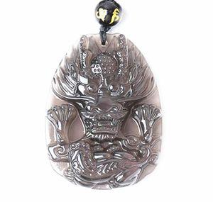 iyi şanslar doğal Obsidian El ejderha Charm kolye oyulmuş