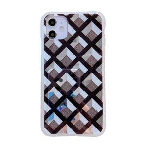 Fashion Texture Grid Lattice Phone Case For iPhone 11Pro Max Case SE XR XS Max 8 7 6Plus Mirror Plaid Geometric Soft Cover Coque