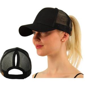 New design original Girl Women Size Adjust 2 Style Top Knot Trucker Cap Mesh Baseball Sun Hat
