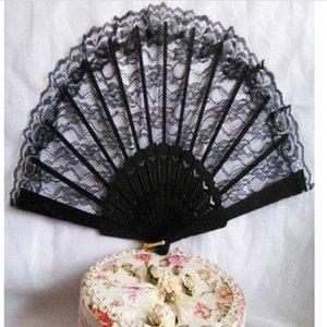 (Noir) Fan pliant spectacle de danse fille scène rétro pour portable de haute fleur Éventail Qualité Vintage Lady classique en dentelle Vintag de bbyks