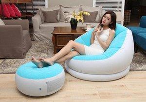 Beflockung aufblasbare faule Einzelbettsofa Nap Lounge Moderne Einfach Zimmer Stuhl mit Pedal, Fußbank Bean Bag Chair Affordable Pa G3KN #