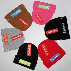Outono Inverno grande moda chapéu marca frio todo-jogo dobrando borda quente 6HKY Rua lã chapéu sup feminino carta chapéu feito malha dos homens bordados