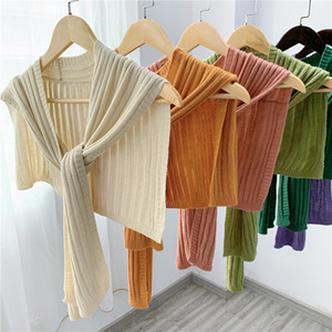 New Korean Autumn Winter Knit Outside Solid Color Shawl Female Fake Collar Knotted Tie Air-conditioned Room Shawl Women Scarf