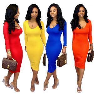أنثى نحيل فساتين الخريف إمرأة الهيئة غير الرسمية فساتين كم طويل الرقبة V الصلبة لون مثير السيدات عارضة فساتين أزياء
