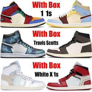 Caixa branca X 1 1s Travis Scotts jumpman tênis de basquete bio azul bege sem medo o grande Tie Dye turbo homens verdes as sapatilhas das mulheres