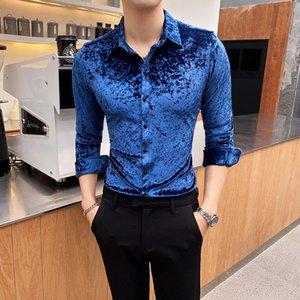 Man Dress Shirts Long Sleeve Men's Black Social Shirt Male Luxury Slim Fit Formal Shirt Golden Velvet Button Up Chemise Homme