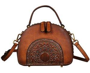 2020 Bags Luxury Ladies INS Genuine Handbags Bag Leather Elegant Shoulder Messenger Retro Cow Leather Handmade Womans Women Fnckj