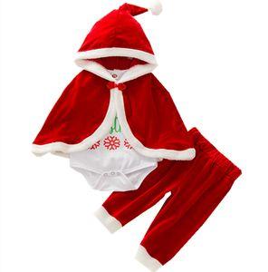 Roupa do bebê do Natal Define Long Sleeve Carta Romper + Velvet Pants + capuz Manto 3Pcs / Set Kids Boutique Xmas Rapazes Meninas Outfits M2589