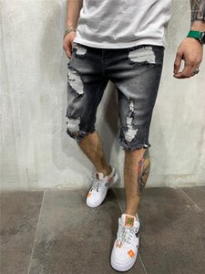 Mosca de la cremallera Pantalones cortos para hombre del diseñador Longitud rasgado pantalones vaqueros grises rodilla Solid Jeans de color cortocircuitos rectos mediados de cintura