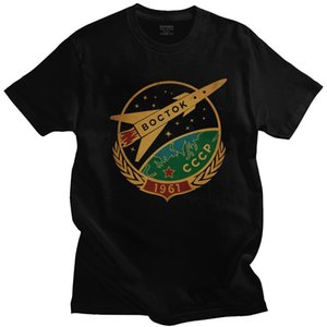 Vintage CCCP Soviet Union Vostok T Shirt Men 100% Cotton 1961 Gagarin USSR T-shirt Short Sleeved Russia Astronaut Propagan Tees