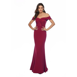 Burgundy Dresses Long Summer Sexy Party Evening Elegant Dress Off The Shoulder Sexy Split Maxi V Neck Floor Dress Women Vestidos0924