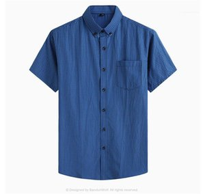 Shirts Homme Casual Top Plus Size Mens Plaid Shirts Single Breasted Mandarin Collar Short Sleeve Summer