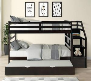 США STOCK Twin-Over-Twin Двухъярусная кровать с Твин размера катить и 3 Хранение Drwers Эспрессо LP000064AAP 2020 Мзы модно