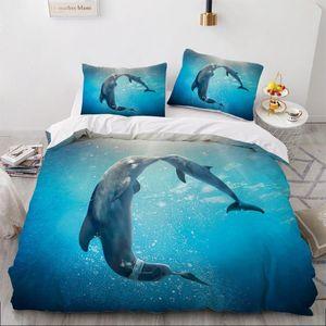 3D conjuntos de cama Sea Dolphin Azul edredon Quilt Cover Set Consolador Lençois Pillowcase Rei Rainha completa 230x230cm Início Texitle
