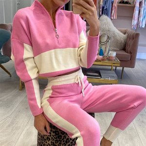 SONDR Leisure High Zipper Collar Two-piece Jogging Suit Fitness Women Fashion Lace Sports Suit Up Autumn 2020 New