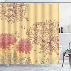 chrysanthemum Print Shower Curtain Bathroom Waterproof Shower Curtain Leaves 3D Curtains Bathroom Modern Art