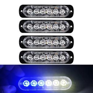 Auto Blu Bianco Strobe Light 6 del segnale LED Strobe Attenzione Light Bar di allarme di sicurezza Flash lampeggiante Lampadina montaggio superficiale Lighthead lampada 12V-24V
