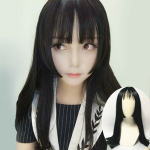female long straight princess cut Qi bangs cos Ji style long hair cosplay fake hair
