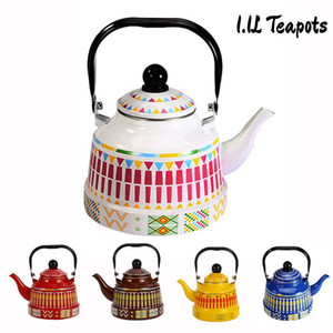 6 Color 1.1L Whistling Enamel Tapot with Steel Handle Exquisite Enamelled Stovetop Kettle Traditional Bone China Teapots Luxirious Metal Jug