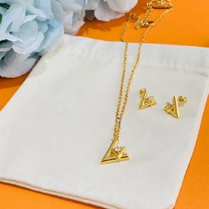 Europa América Moda Jóias Conjuntos Homens Lady Mulheres gravado V iniciais com diamantes conjuntos Volt colar pulseira pingente