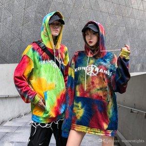 Mens hoodies ocasionales varones ropa pintada impresión de la letra del diseñador del Mens sudaderas Moda suelta teñido anudado del bolsillo grande