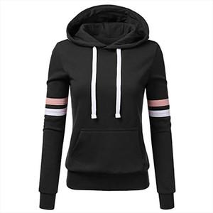 Women Stripe Fluffy Sweatshirt Big Size Long Sleeve Sweatwear Hooded Pocket Long Jogging Hoodie Hat Top Shirt Oversize Tunic 5XL