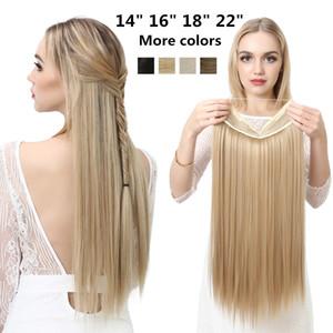 """Sarla 14"""" 16"""" 18"""" 22"""" Ombre Прямой провод Halo Extension Fish Line Ложные Pieces Hairpieces синтетических волос для женщин"""