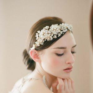 SLBRIDAL artesanal de cristal Strass Pérolas da flor do casamento Tiara Headband nupcial Headpieces Cabelo Acessórios Bridesmaids Mulheres