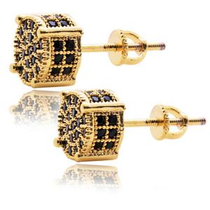 Hip Hop Luxury Boho Black Zircon Dangle Earrings Golden Silver Plated Vintage Geometric Jewelry Charm Women's Stud Earring Factory Wholesale
